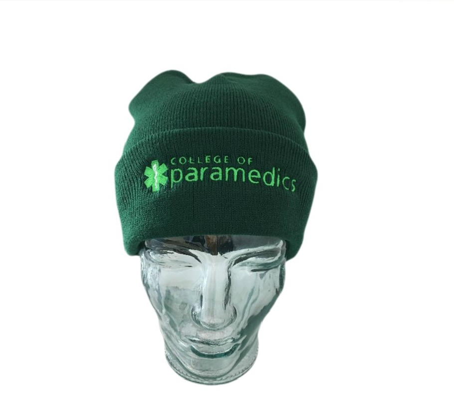 College of Paramedics Beanie Hat - Knitted Turn-up Green